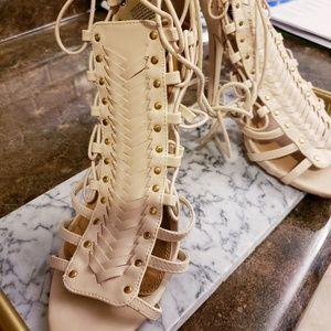Beige Laced Heels